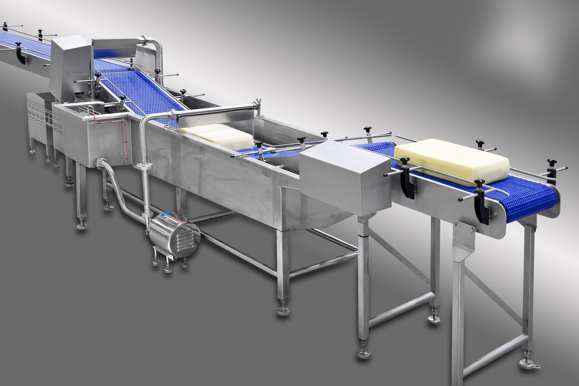 Cheese washer and dryer conveyor system