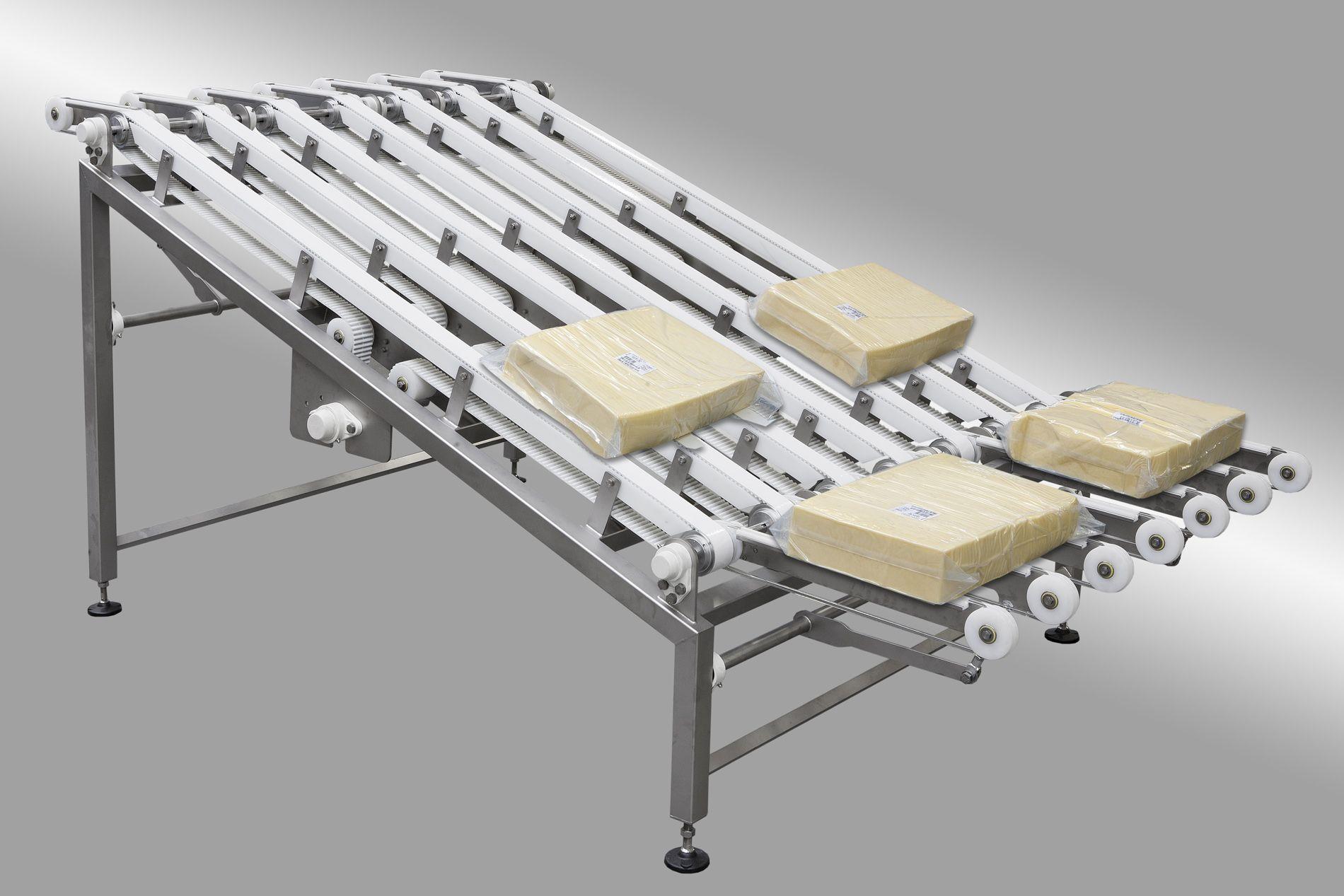 Rowfeeder for cheese blocks
