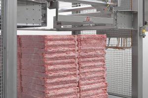 Depalletizer of blocks of frozen meat