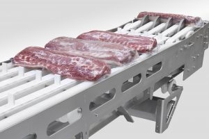 Conveyor system for packets of meat